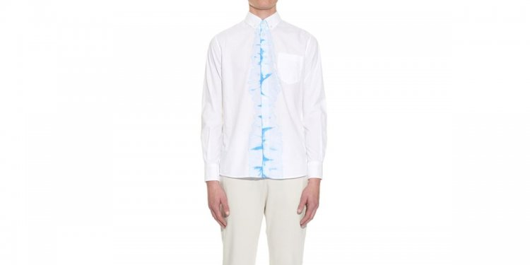Tie-dye Panel Cotton Shirt