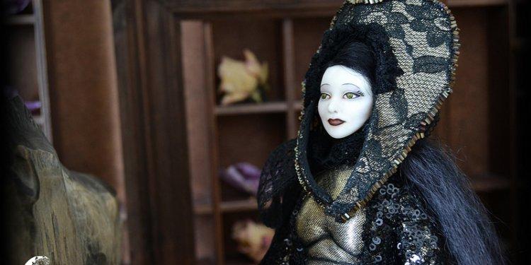 Nadine Black Snake Victorian Gothic Anthro Art Doll OOAK Halloween gift