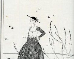 monochrome advertisement featuring an illustration of a woman putting on black-and-white patterned dress