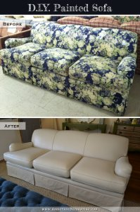 DIY Painted Sofa - pre and post
