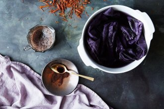 Logwood extract developed this rich purple shade.